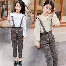 2 Pieces Children  Set Girls Blouse Plaid Jumpsuit Outfit Kid Autumn Clothes