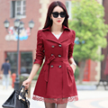 2017 New Fashion Winter Autumn Women Trench Coat Long Outwear Plus Size Waist Slim Trench Coat for Women With Belt Spring Coat
