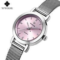 WWOOR zegarek na co dzień kobiety zegarki moda zegar kwarcowy zegarek kobiet panie ekskluzywna sukienka zegarek Relogio Montre Reloj Mujer w Zegarki damskie od Zegarki na