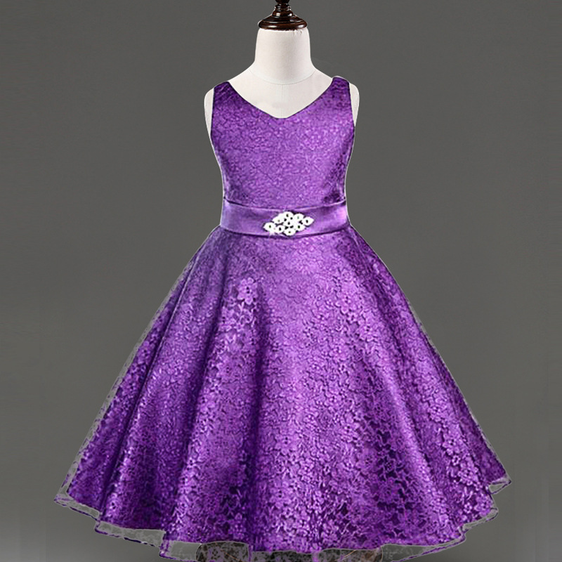 New Wedding Dress For Girl Lace Sashes Kids Party Dresses For Girls ...