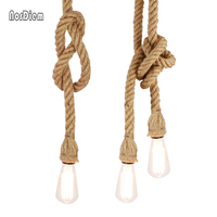 Vintage Rope Pendant Light Lamp Loft Creative Personality Industrial Lamp Edison Bulb American Style For Living
