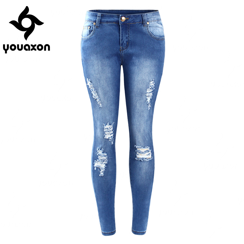 2016 youaxon plus size ripped fading jeans womens true