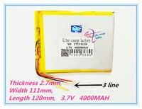 3 Line Best Battery Brand 27111120 3 V 3800MAH Polymer Lithium Ion Battery Tablet PC Battery