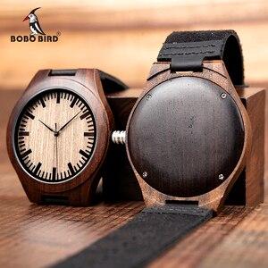 Image 2 - Часы мужские из эбенового дерева BOBO BIRD, японские кварцевые деревянные наручные часы t, подарок для мужчин, принимаем логотип