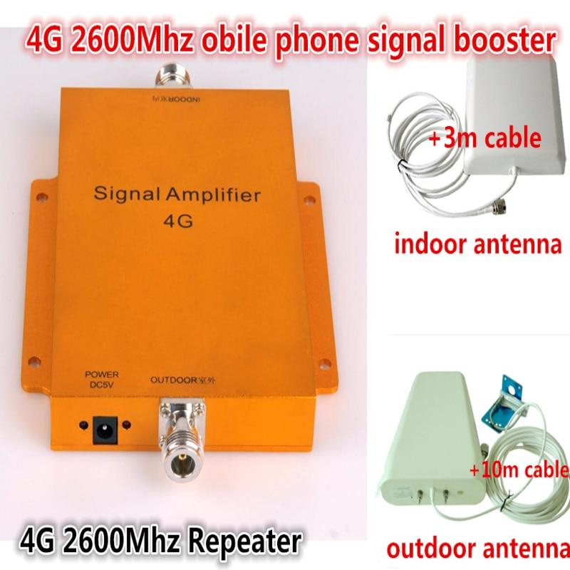 4G répéteur 65db LTE booster FDD LTE répéteur 4G signal booster 4G 2600 mhz signal booster LTE 4G amplificateur kit avec antenne