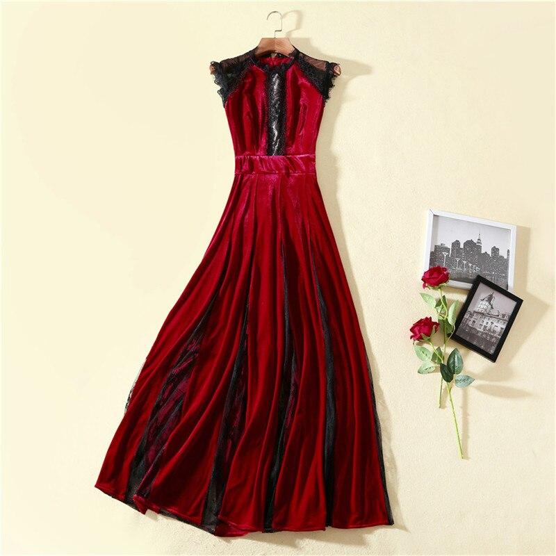 Elegant Celebrity Party Long Maxi Dress Women 2019 Spring Fashion Lace Patchwork Vintage Sexy Velvet Dress