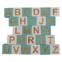 1 Set Solid Wood 26 English Alphabet Square Cube Block Children Learning Ornaments Baby Infant Photography Props Home Crafts