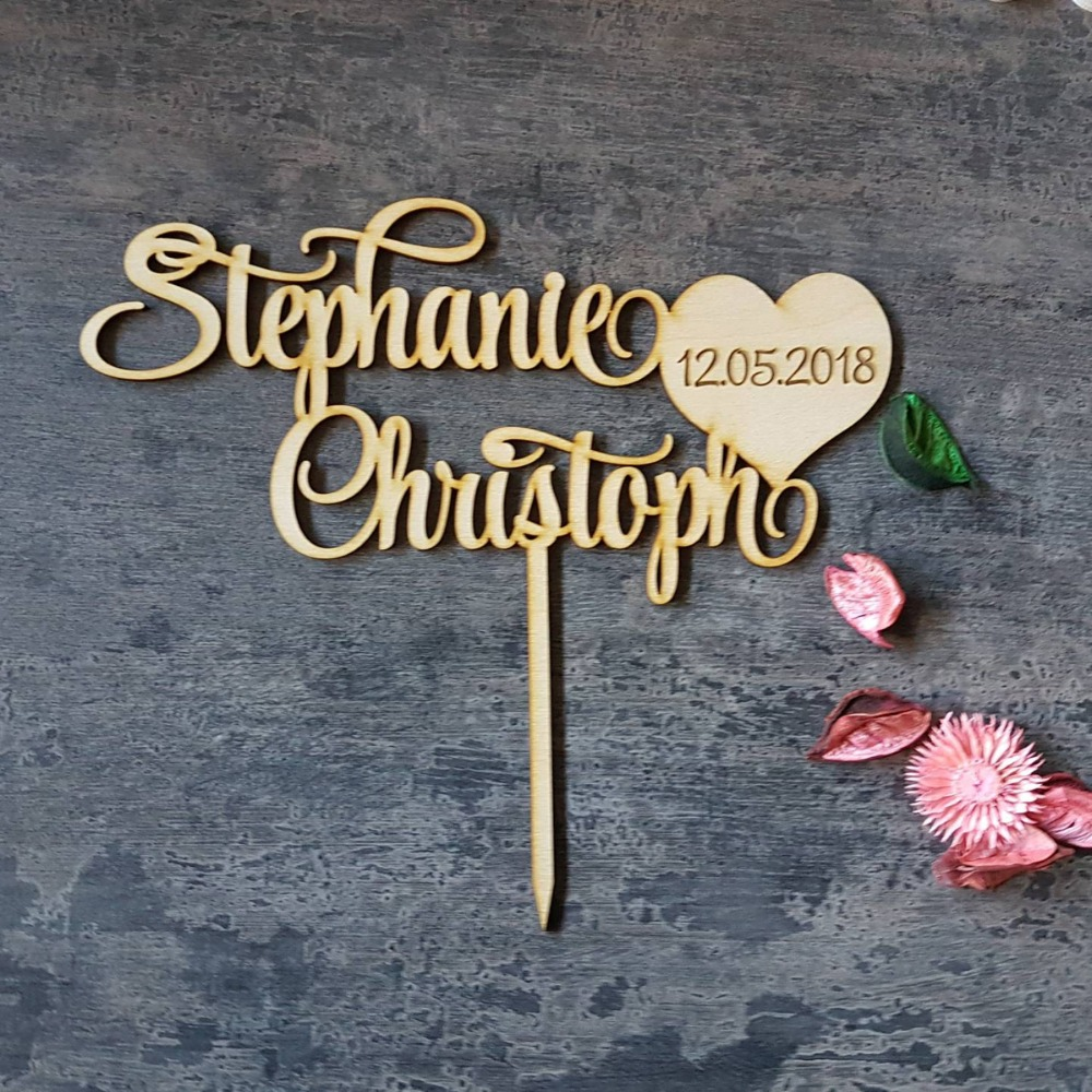 Personalized Wedding Cake Topper, Custom Couple Names With  Date Cake Topper, Mr And Mrs Wedding Cake Topper Decor Supplies