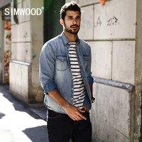 SIMWOOD 2017 Spring Summer New Casual Denim Shirts Men 100 Pure Cotton Slim Fit Plus Size