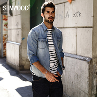 SIMWOOD 2017 Spring Summer New Casual Denim Shirts Men 100 Pure Cotton Slim Fit Plus Size