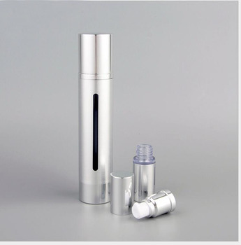 50ml silver/gold airless bottle  for serum/lotion/emulsion/foundation/gel/toner refillable portable cosmetic packing