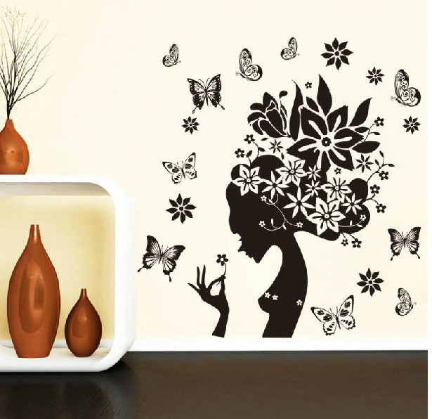 28 38 Black Flower Butterfly Home Decor Wall Decals Living Room Bathroom Tile