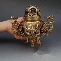 Антикварные медные украшения для благовоний большая полая Коулун сандаловая ароматическая палочка горелка декоративная антикварная колл