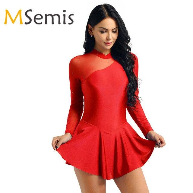 נשים מבוגרים דמות החלקה שמלת נשים בלט שמלת התעמלות בגד גוף החלקה על שמלה ארוך שרוול צוואר הלטר ללא משענת שמלה