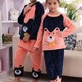 Pijama de veludo coral terno outono e inverno das crianças grandes crianças dos desenhos animados meninos e meninas de algodão grosso agasalho de flanela