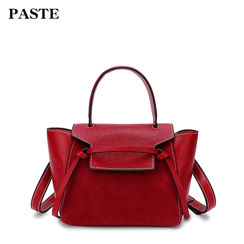 Paste Women Bags Genuine Leather Shoulder Bags Soft Leather Crossbody Handbags Solid New Lady Messenger Bag 2018 Totes p0791