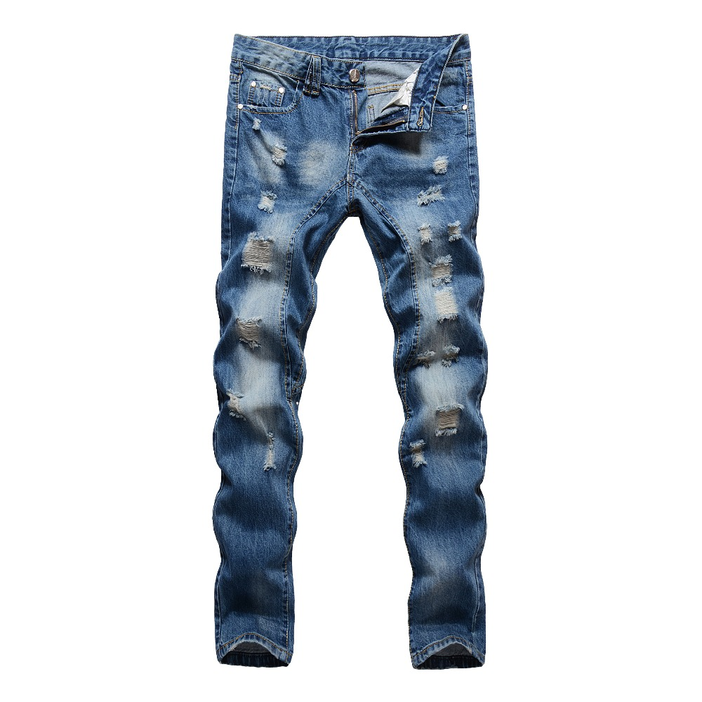 2017 High Quality Hi-Street Mens blue Ripped Jeans Men Biker Male Distressed Slim Fit Jeans Destroyed Denim Jeans Trousers