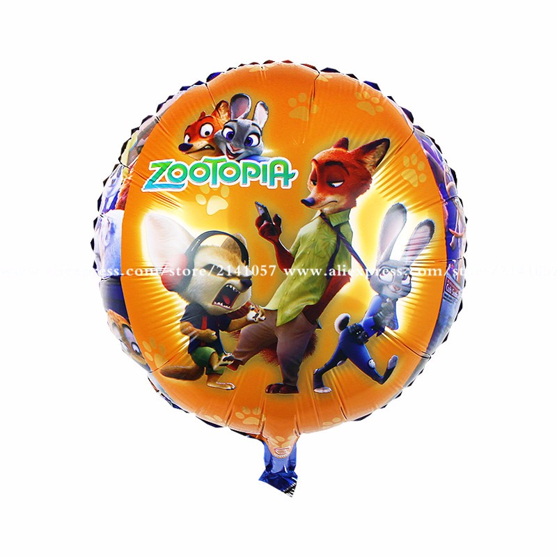 30pcs/lot The new 18-inch aluminum balloons crazy animal Nick Judy city party balloons
