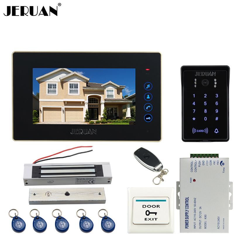 JERUAN Wired 7`` Touch key video doorphone intercom system kit waterproof touch key password keypad camera 180KG Magnetic lock jeruan wired 7 touch key video doorphone intercom system kit waterproof touch key password keypad camera 180kg magnetic lock