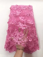 Gorgeous Kolor Różowy kwiat Afryki Francuski Koronki Tkaniny Wysokiej Jakości 3D Tiul Koronka Tkaniny Z Koralików Dla sukni Ślubnej. fc17-jy02