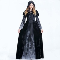 Gothic Witch Dress For Adult Women Costume Cosplay,2019 Gothic Queen of Vampire Black Skull Print Fancy Dress Halloween Costume