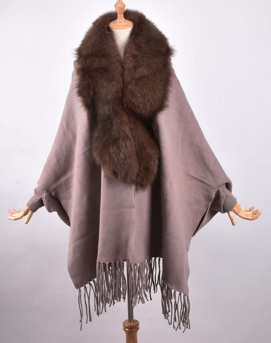Cashmere Shawl Cape Wrap Scarf with Fox Fur Trim Camel New Real