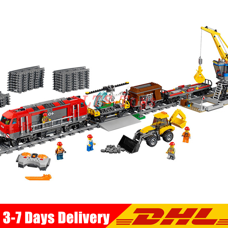 DHL Shipping Lepin 02009 1033pcs City Engineering Remote Control RC Train Building Block Compatible Legoing 60098 Brick Kid Toys lepin 02009 1033pcs city engineering remote control rc train building block compatible 60098 brick toy