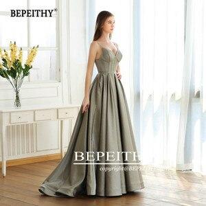 Image 4 - BEPEITHY linia Vintage długi blask suknia wieczorowa Party elegancki V neck szata De Soiree brokat nowe suknie balowe długie 2020