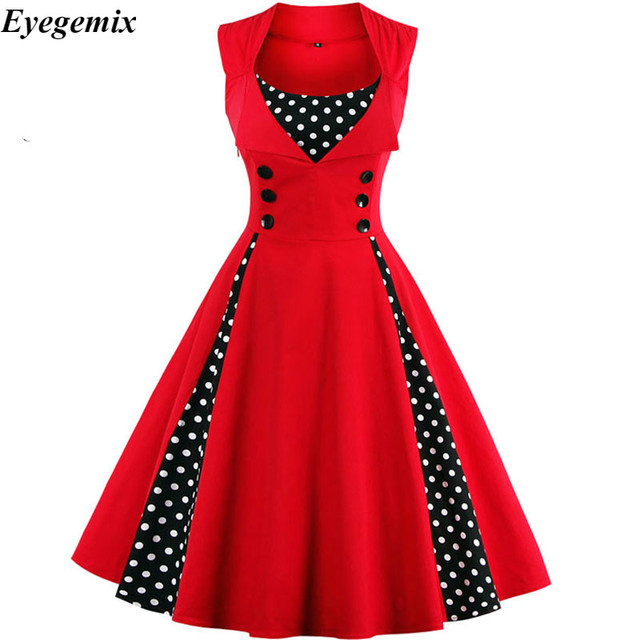 d3cff7cd6d3e5 S 4XL Women Robe Retro 2018 Vintage Dress 50s 60s Rockabilly Dot Swing Pin  Up Summer Party Dresses Elegant Tunic Vestidos Casual-in Dresses from  Women's ...