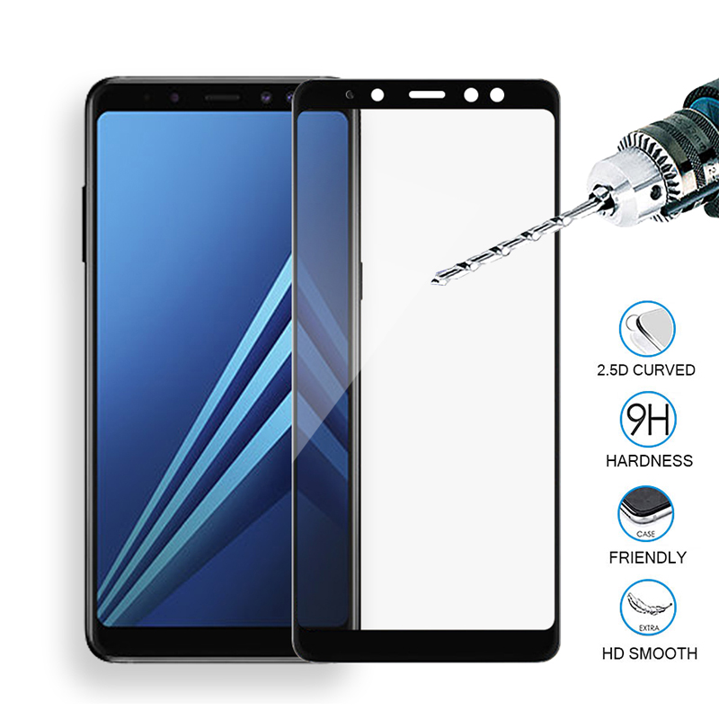 Tempered Glass For <font><b>Samsung</b></font> Galaxy A6 plus <font><b>2018</b></font> Full Cover Screen Protector Film For Galaxy A7 A8 A9 a730 <font><b>750</b></font> sceen galax a6 case image