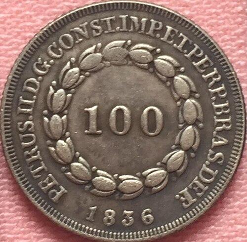 1836 Бразилия 100 Reis Монеты Скопируйте Бесплатная доставка