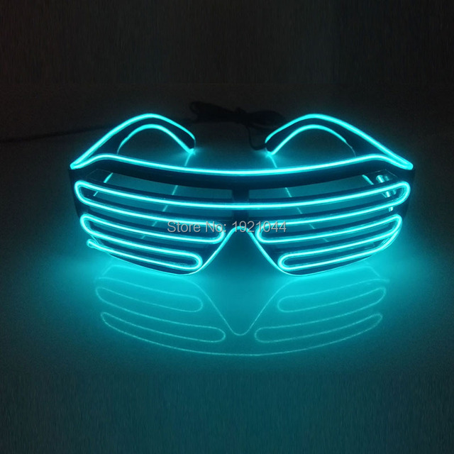 Lighting Transparent blue EL Wire Glowing Shutter shape Glasses with ...