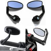 Free Shipping 2 X Popular 22mm Adjustable Blue Anti Glare Mirror Heavy Duty Motorcycle Street Bike