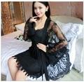 Rayón Sexy pecho Envuelto Mujeres Robe Set Correa de Espagueti Con Sujetador Camisón de Encaje Bata Transparente