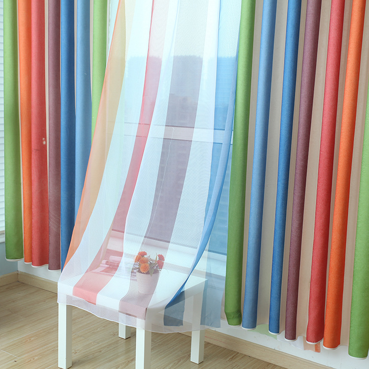 Rainbow Striped Curtains For Living Dining Room Bedroom Children Bedroom  Explosion Models Mediterranean Windows Kids Boys Girls In Curtains From  Home ...