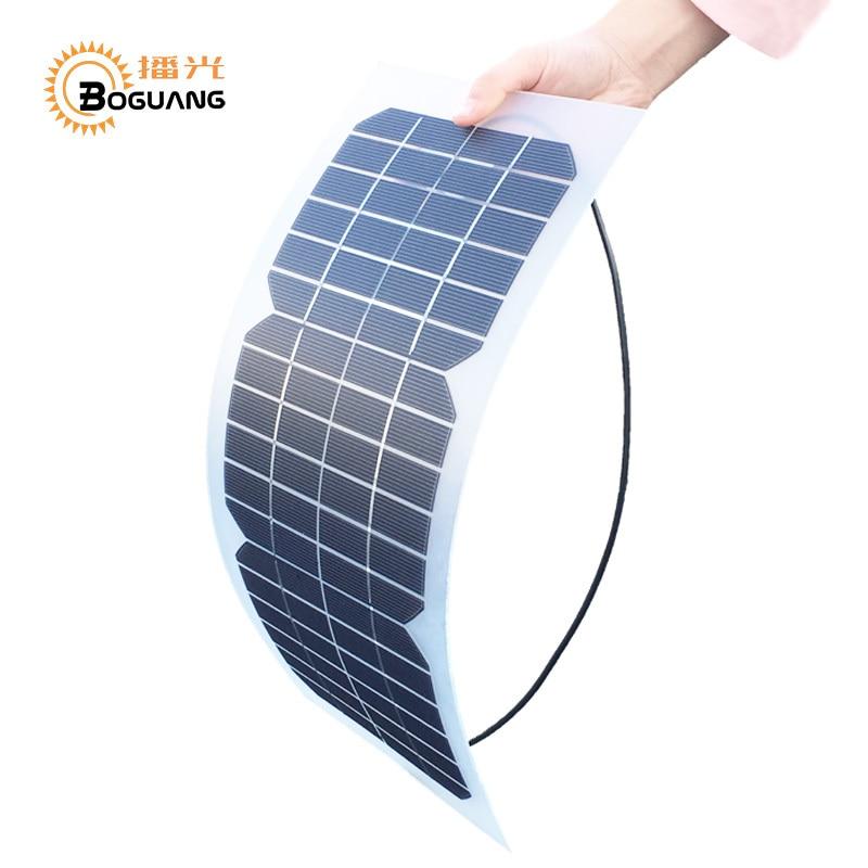 Boguang 18V 10w solar cell kit Transparent semi-flexible Monocrystalline solar panel DIY module outdoor connector DC 12v charger
