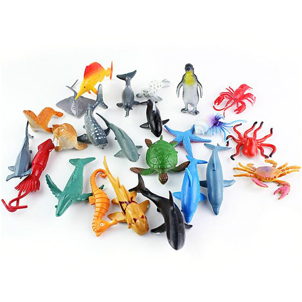 24 PCS Sea Life Animals Dolphin Crab Shark Turtle Model Action Figures Figurines Ocean Marine Aquarium Miniature Education Toys