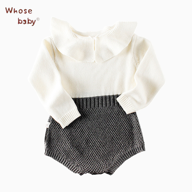 Newborn Baby Girl Romper Winter Knitted Jump Suit 2017 Autumn Long Sleeve Baby Rompers Girls Clothes Baby Girl Clothes платье для девочек baby girl clothes 2015 baby baby girls clothes