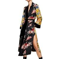 2017 Vintage Floral Long Kimono Blouse Women Sashes Long Sleeve Blouse Blusas Sexy Side Split Bow