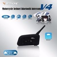 Vnetphone V4 1200m Motorcycle Helmet Bluetooth Interphone Headset 4 Riders Bt Intercom With FM Radio