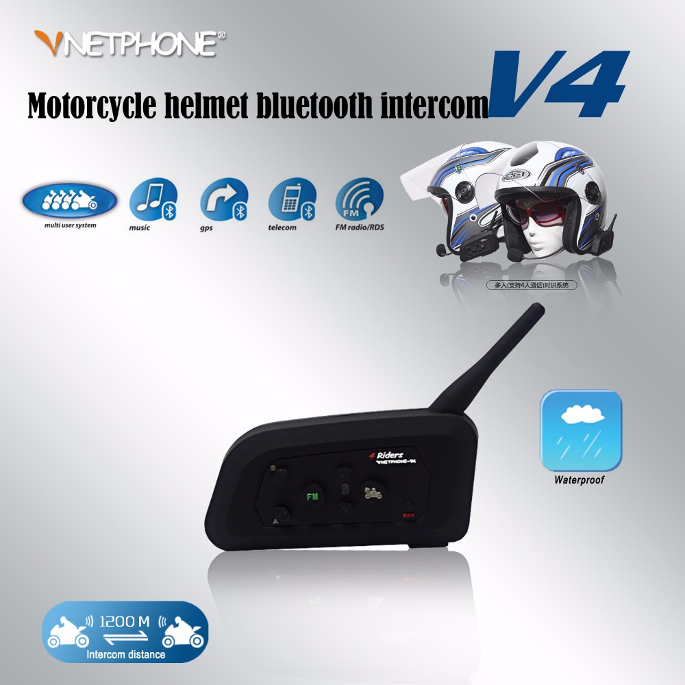 цены Vnetphone V4 1200m motorcycle helmet bluetooth interphone headset 4 riders bt intercom with FM radio