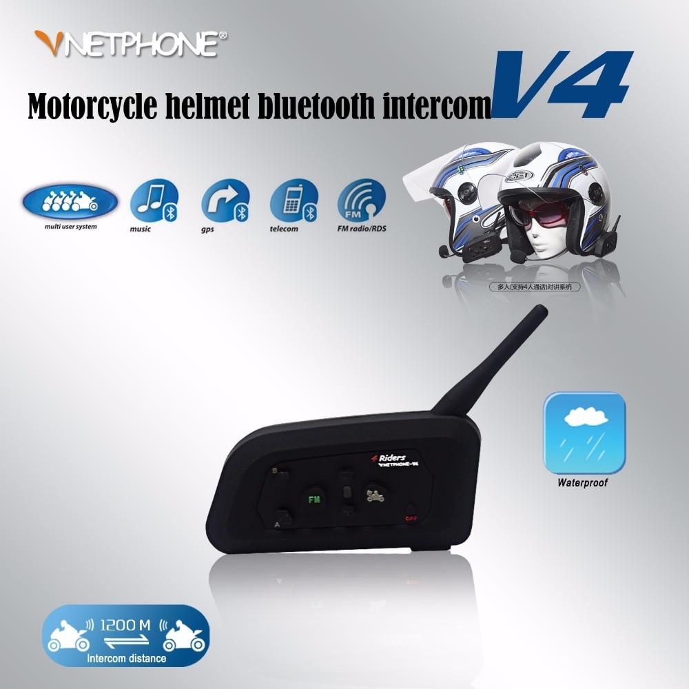 Vnetphone V4 1200 m casque de moto bluetooth interphone casque 4 coureurs bt interphone avec radio FM