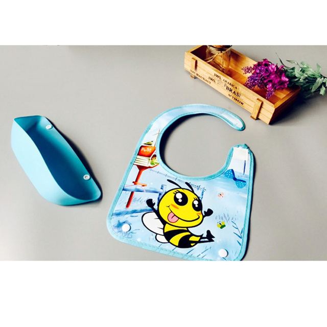 Cartoon Waterproof Baby Bib with Silicone Pocket