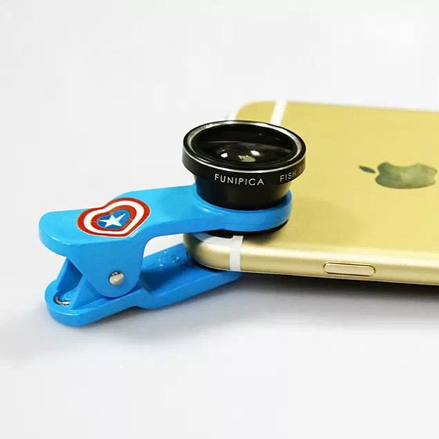Cartoon Clip Universal 3in1 0.65X Wide Angle+Fish Eye+Macro Lens Phone Camera Kit for iPhone HTC Samsung Sony LG All Smartphone
