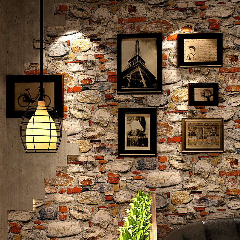 Modern Vintage 3D Stone Wallpapers Roll Personalized Wall Paper for Coofeee Tea House Room Walls contact paper papier peint wallpaper for walls 3 d modern trdimensional geometry 4d tv background wall paper roll silver gray wallpapers for living room