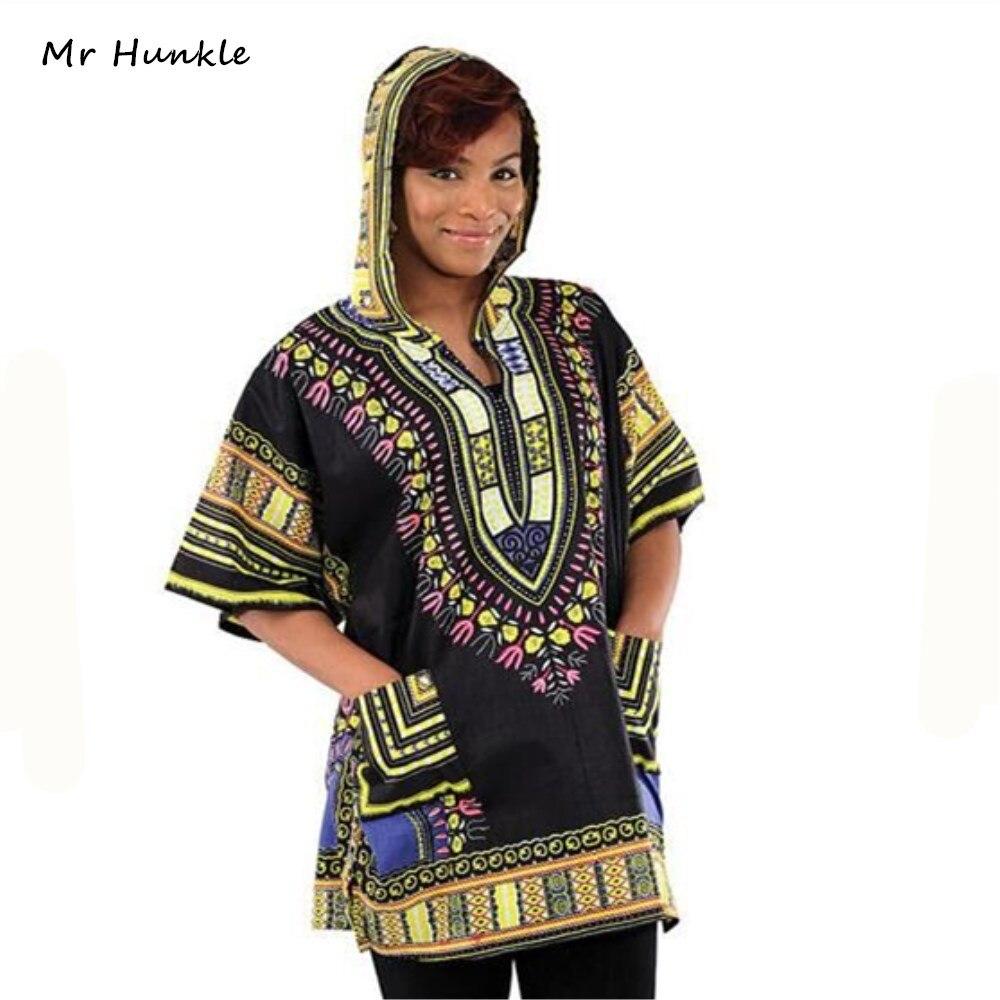 Mr Hunkle 2017New Design Dashiki Hoodies Loose African Print Dashiki Fabric Hood 100% Cotton Fashion Robe Clothing Unisex Kimono