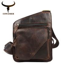 COWATHER Top cow genuine leather messenger bag versatile casual shoulder