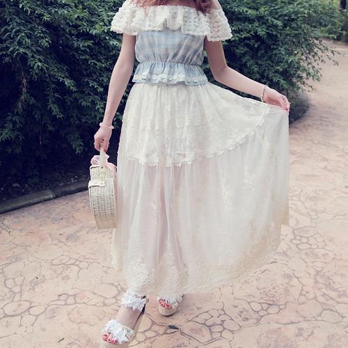 Sweet Longue Style Stade Blanc Lolita Catwalk Jupe Princesse Dentelle B1201 Bobon21 De Originale Conception White Fée Fil dPt8vx