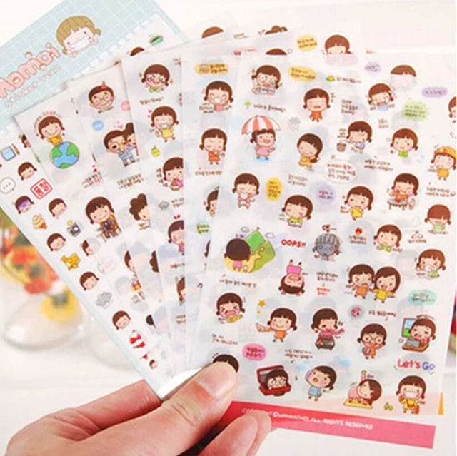 6 sheets funny diy mini cartoon print phone message mobile phone decor scrapbook paper stickers