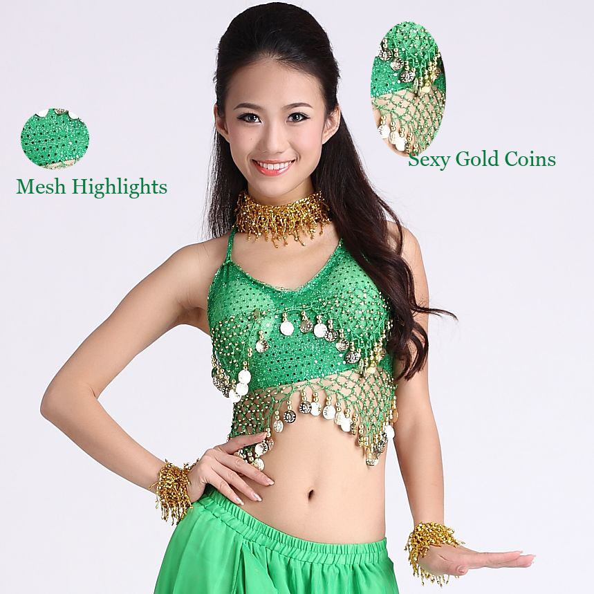 Hot Sale Belly Dance Clothes Sexy Mesh Belly Dance Top Girls Dance Tees Kids Stage Gold Coins Belly Dance Clothes Tops 10 Colors